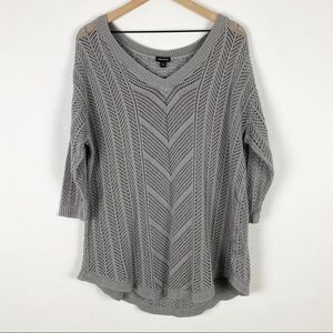 Torrid Grey Pointelle Cut Out Long Sleeve Sweater